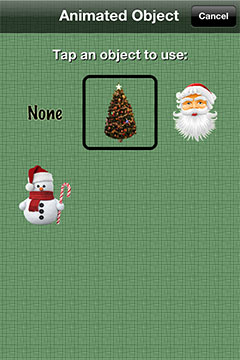 Animated holiday objects in Christmas Countdown w/Music for the iPhone